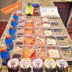 Meal Prep and Planning with @c_soria9 and @Katie McCausland. Had a great time breaking in the new kitchen!!! This is Breakfast, Lunch and Snacks for 1 person. 1⃣ Boiled Eggs, Greek Yogurt, Banana, Granola and (Berries and Oatmeal not pictured) 2⃣ Grilled Chicken with Caramelized Peppers and Onions, Brown Rice, Black Beans and Whole Wheat Tortillas. Gatorade 3⃣ Open Face Turkey Sandwich topped with Spinach, Onion, Pepper Jack Cheese side of Apple and Quinoa Salad 4⃣..