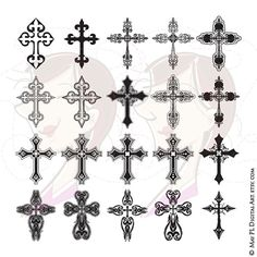 Cross Digital Clipart Ornate Christian Orthodox Gothic Crosses Graphics Christmas Easter Sympathy Cardmaking DIY Cards Scrapbook 10634