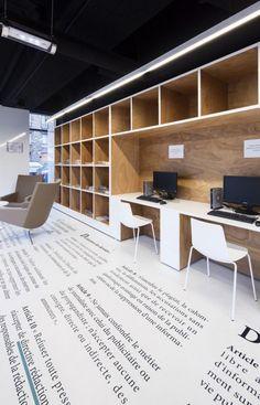 Gallery of Médiathèque du Bourget / Randja - Farid Azib Architects - 10 Workspace Design, Office Workspace, Office Interior Design, Office Designs, Corporate Interiors, Office Interiors, Hotel Interiors, Commercial Design, Commercial Interiors