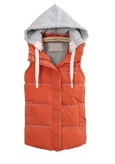Orange Zipper Collar With Hat Thick Cotton Vest
