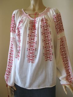Romanian blouses - Long sleeved - GreatBlouses.com Folk Embroidery, Embroidered Blouse, Ball Jointed Dolls, Dracula, Traditional Outfits, Cross Stitch, Costumes, Womens Fashion, Long Sleeve