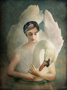 'Odette (Swan Lake)' by Catrin Welz-Stein, a German graphic designer & digital artist from Zurich, Switzerland who enjoys creating art with a story that is not immediately obvious, but draws the viewer in to discover its meaning. Her images have a surreal, dreamy quality. Welz-Stein's main inspirations are fantasy, children stories, medieval, Jugendstil, Folklore & Surrealism / http://catrinwelzstein.blogspot.ca/