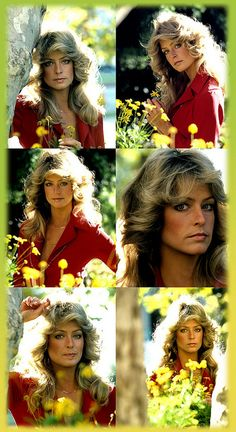 A collage of images when Farrah was Farrah Fawcett-Majors for Charlie's Angels.