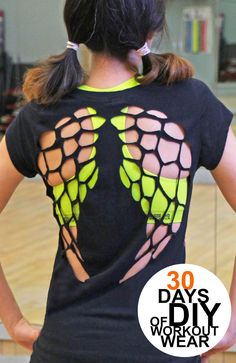 Grosgrain: 30 Days of Workout Wear: Day 3- cut out angel wings t-shirt
