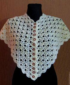 Купить Бактус крючком необычный ажурный шейный платок-нкидка - молочный цвет, ажурный узор