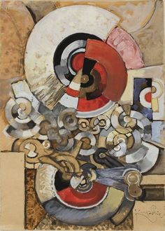Frantisek Kupka / Orphist Composition with Disks / 1927/29 / Gouache, with touches of watercolor, over graphite, on tan laid paper