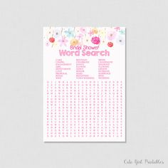 Modern Bride Bridal Shower Word Search - Bridal Shower Game Printables - Fuchsia Pink Crossword Puzzle - Floral Word Search - 0005W