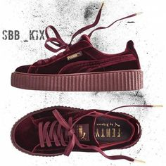 Women Rihanna x Puma Velvet Creepers Maroon Burgundy Suede (£235) ❤ liked on Polyvore featuring shoes, puma shoes, maroon shoes, creeper shoes, suede shoes and puma footwear
