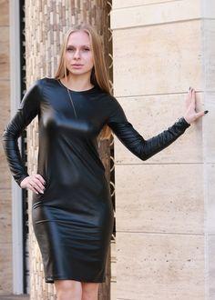 Black Leather Dress Long Sleeve Dress Eco Leather Dress | Etsy Black Leather Dresses, Leather Mini Dress, Plus Size Maxi Dresses, Plus Size Outfits, Dresses With Sleeves, Viscose Dress, Viscose Fabric, Oversize Pullover, Plus Size Kleidung