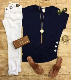 Triple Threat Button Top in Navy features 3 buttons down one side. So soft & comfy you want every color!