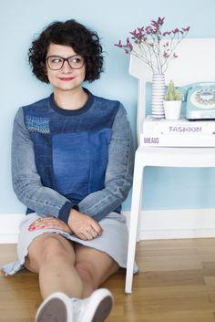 Refashion: Sweatshirt aus alten Jeans mit Shashiko Details – Jeans entschleunigt