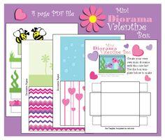 Mini Diorama Valentine Box: Free Printable
