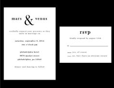 Black and White Wedding Invitation Set by BlackInkWhitePaper, $20.00