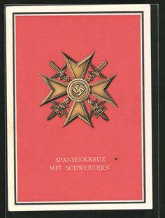 old postcard: AK Kriegsorden des Grossdeutschen Reiches: Spanienkreuz mit Schwertern
