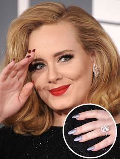 """I am so in love with this - and considering acrylics for the first time. """"Louboutin""""-style #nails on Adele at the Grammys"""