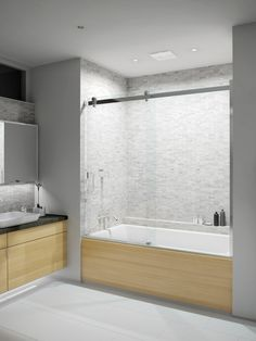 Bathtub shower doors with sliding glass to show off the beautiful tile and make it seem more airy and relaxing