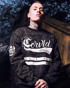 """Corvid Fam"" Camo Bomber Sweater Available at www.crmc-clothing.co.uk | WE SHIP WORLDWIDE Models - @ryan_davieshall Photography - @adrianianmcnab #darkwear #hood #blackwear #camo #bomber #altfashion #alternative #instafashion #fashionstatement #fashiongram #fashionista #instastyle #stylegram #bomberjacket #menwithtattoos #winter #winterfashion #styles #style #alternativeguy #alternativeboy  #alternativeteen #instagrammers #instafamous #igers #love #instagood #ryandavieshall #tattooedmen"
