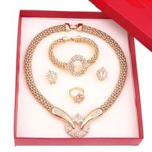 2015 Newest Top selling 18K Gold Plated Dubai Crystal Jewelry Sets Part Wedding Adorn Earring Bracelet Necklace Ring For Women