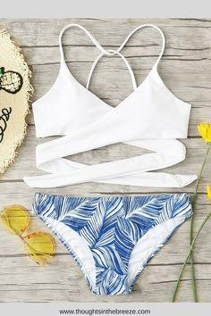 956e7d11dc $12.99 Crisscross Tropical Print Bikini Set. Fashionable swimsuits for  summer and spring break. Trendy