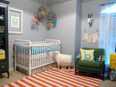 dormitorio bebé acentos naranjas