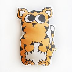 Organic Cotton Tiger Kid's Pillow, Tiger Doll, Tiger Plush Toy, Tiger Softie, Modern Nursery, Tiger Stuffed Toy, Organic Baby toy