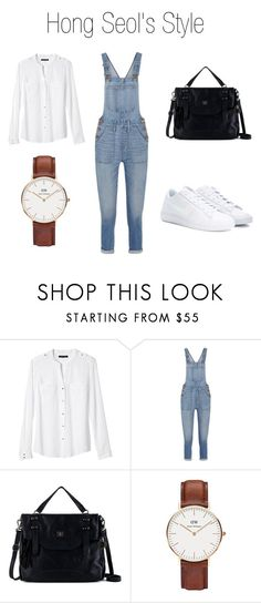 Hong Seol's Outfit by ozgenurbozkurt on Polyvore featuring Banana Republic, Madewell, NIKE, The Sak and Daniel Wellington