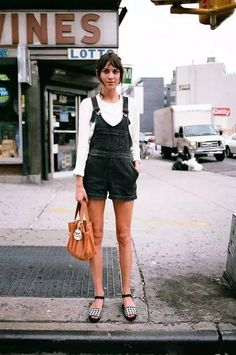 Street Fashion: White Shirt & Denim Overall Shorts