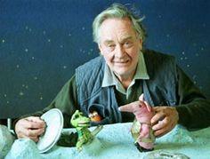 Oliver Postgate creator of The Clangers, Bagpuss, Noggin the Nog, Poggles wood, Ivor the engine and many more. I love him.