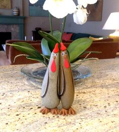 Valentines Day Love Birds Painted Rock Painted by qvistdesign, $38.00