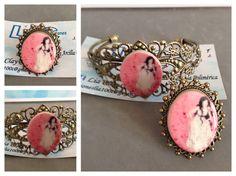 Brazalete y anillo camafeo con imágen de dama en rosa de arcilla polimérica.