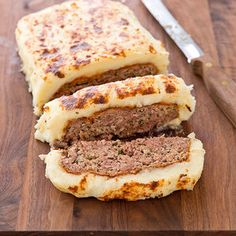 Mashed potato 'frosted' meatloaf from cook's country.  We like this meatloaf by itself without the extra work, though.  Ground pork + 90% lean ground beef makes a great flavor.