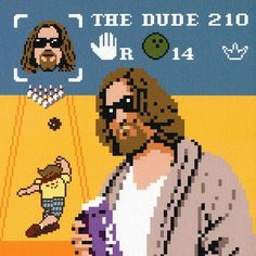 Cross stitch ideas: 8-bit Lebowski art -except for the fact that the dude NEVER bowls in the movie.