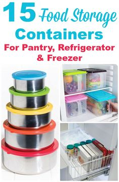 15 food storage containers, for use in your pantry, refrigerator or freezer. Hold your food in one of several types of container, including stainless steel, glass and plastic. Freezer Storage, Diy Storage, Storage Ideas, Home Storage Solutions, Goal Digger, Pantry Ideas, No Plastic, Refrigerator Freezer, Pantries