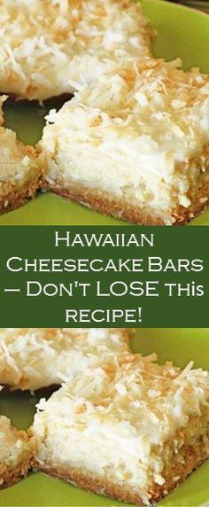Cheesecake Bars, Cheesecake Recipes, Hawaiian Desserts, Hawaiian Dessert Recipes, Muffins, Salty Cake, Savoury Cake, Dessert Bars, Christmas Baking