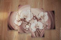 """Купить Объемная фреска """"Белые орхидеи №2"""" - бежевый, орхидеи, объемная фреска…"""