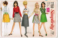 1968 Simplicity 7759 Sewing Pattern Misses' Skirt and Blouse http://www.etsy.com/listing/74110816/vintage-1968-simplicity-7759-uncut