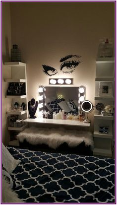 Lovely Vanity Mirror Decor Ideas With Lighting * aux-pays-des-fleu. - Lovely Vanity Mirror Decor Ideas With Lighting * aux-pays-des-fleu… - Teen Room Designs, Girl Bedroom Designs, Girls Bedroom, Master Bedroom, Dream Bedroom, Cute Room Ideas, Cute Room Decor, Room Decor With Lights, Mirror With Lights