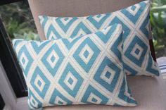 Turquoise Pillow Cover / Turquoise and Cream / Harlequin /  Diamond / 12x18 / Lumbar