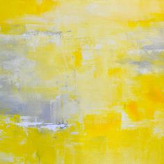 Yellow Abstract Print - From Original Abstract in Yellow Acrylic Painting on Canvas