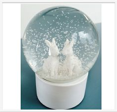 White Rabbit Snow Globe, a pair of cute rabbits sit inside a snow filled glass globe top a white base, www.lumleylocket.com