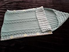 Mint kleur gebreide baby slaapzak - met capuchon -