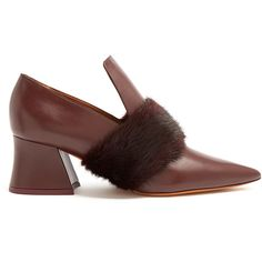 Givenchy Patricia mink-fur point-toe leather loafers (€725) ❤ liked on Polyvore featuring shoes, loafers, heels, burgundy, pointy toe shoes, pointed loafers, burgundy shoes, pointy shoes and givenchy shoes