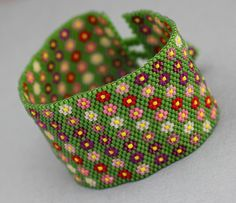 Bracelet  Flower Peyote Cuff Bracelet by KathysDesignsLLC on Etsy, $200.00