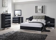 Alessandro Glossy Black Queen Bed w/Dresser and Mirror, /category/bedrooms/alessandro-glossy-black-queen-bed-w-dresser-and-mirror.html