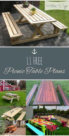11 FREE Picnic Table Plans| DIY Picnic Table