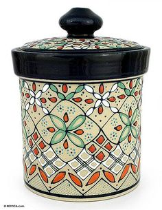 Ceramic cookie jar, 'Sweet Treats' . Javier Servin Designed and Hand-painted creating raised textures. NOVICA