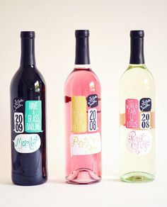 cute wine labels, fresh and colorful