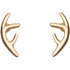 Gold Plated Antler Stud (48 ARS) ❤ liked on Polyvore featuring jewelry, earrings, gold, gold plated jewellery, stud earrings, gold plated jewelry, gold stud earrings and studded jewelry