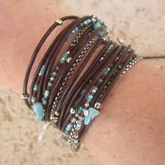 Boho Chic Brown Leather Wrap Bracelet with Mixed by DesignsbyNoa Boho Chic Brow. - Boho Chic Brown Leather Wrap Bracelet with Mixed by DesignsbyNoa Boho Chic Brow… – Boho Chic - Leather Jewelry, Boho Jewelry, Jewelry Crafts, Beaded Jewelry, Jewelry Bracelets, Handmade Jewelry, Jewelry Design, Bangles, Wrap Bracelets