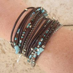 Triple Leather Wrap Bracelet with Silver Accents and Turquoise, Brown and Silver Glass Beads